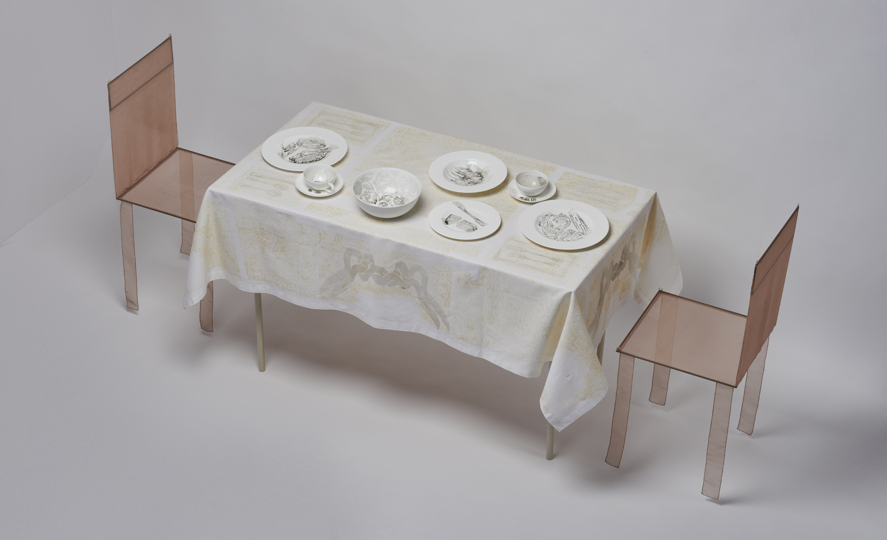 """Dinner for Two in One Month of Smog"" (2011) Smog (particulate matter) on porcelain dinnerware and linen"