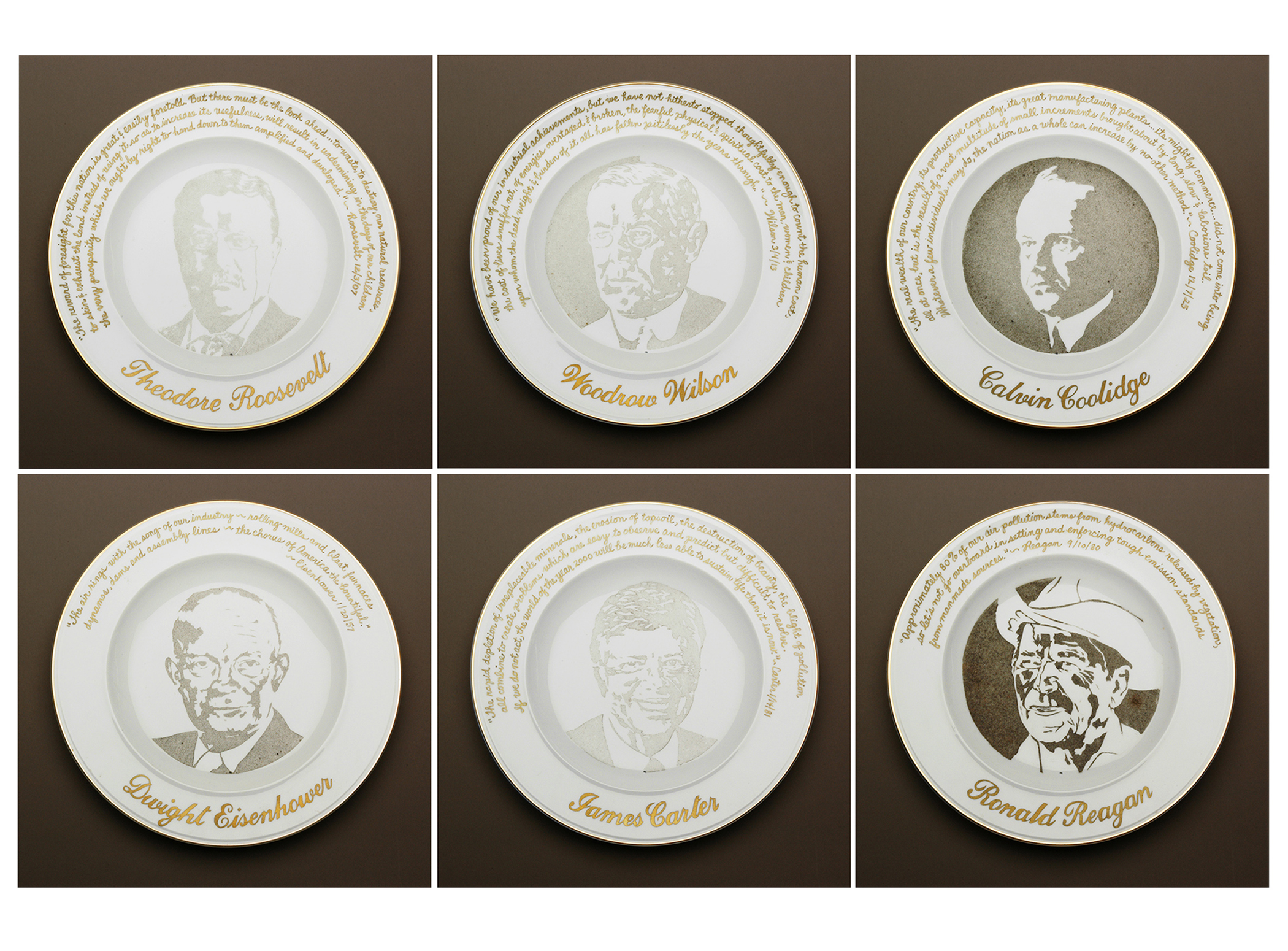 """Presidential Commemorative Smog Plates"" (1992) Smog (particulate matter) on porcelain plates with their quotations about the environment and industry written in gold. The stenciled plates were left out longer, depending on the president's environmental records."